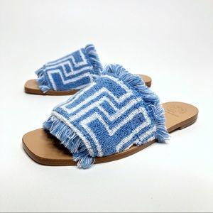 NEW TORY BURCH Towel T Flat Blue Fringe Sandals